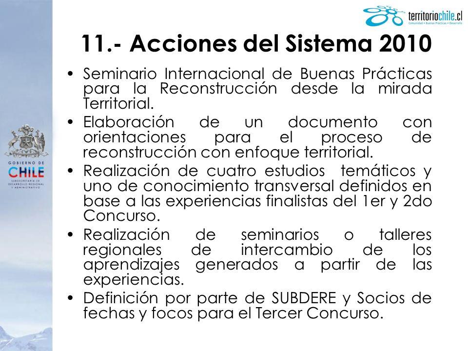 11.- Acciones del Sistema 2010 Seminario Internacional de Buenas Prácticas para la Reconstrucción desde la mirada Territorial.