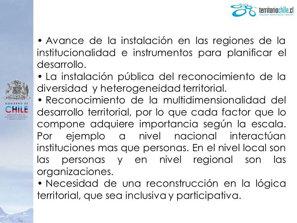 Avance de la instalación en las regiones de la institucionalidad e instrumentos para planificar el desarrollo.