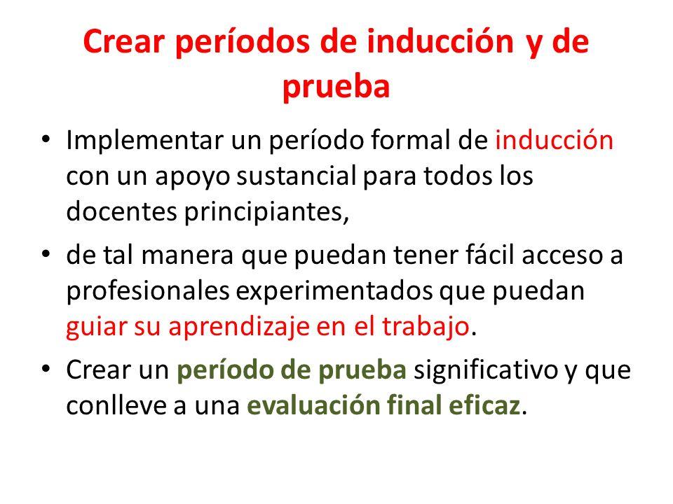Crear períodos de inducción y de prueba