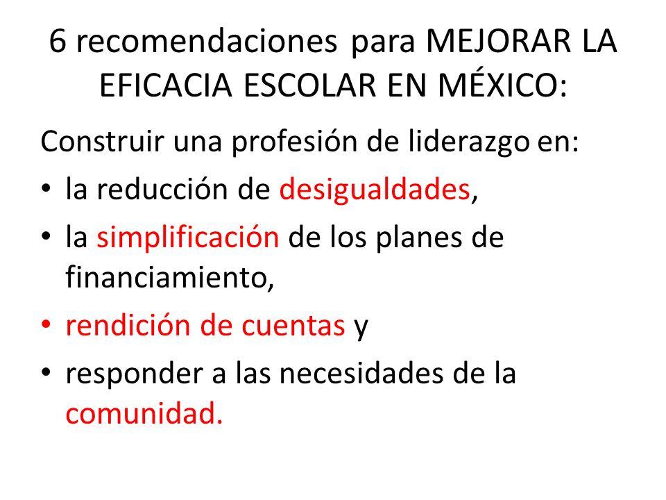 6 recomendaciones para MEJORAR LA EFICACIA ESCOLAR EN MÉXICO:
