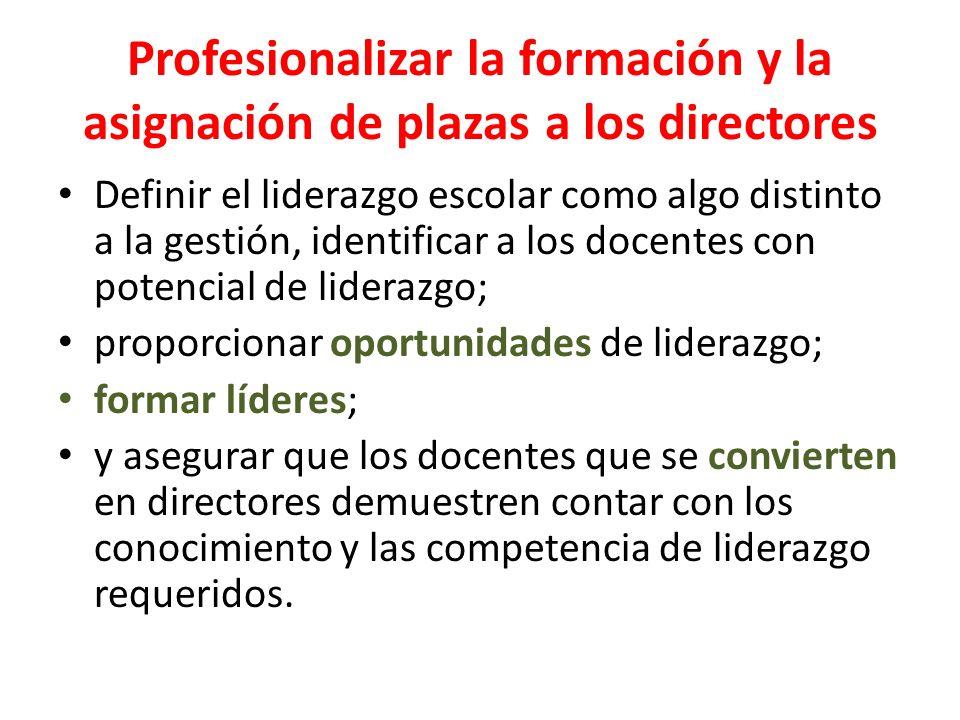 Profesionalizar la formación y la asignación de plazas a los directores