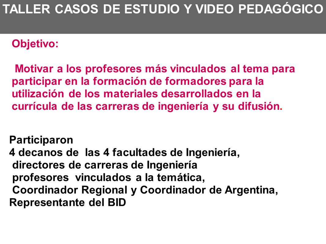 TALLER CASOS DE ESTUDIO Y VIDEO PEDAGÓGICO