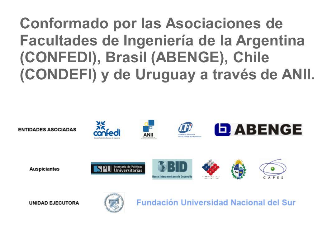 Conformado por las Asociaciones de Facultades de Ingeniería de la Argentina (CONFEDI), Brasil (ABENGE), Chile (CONDEFI) y de Uruguay a través de ANII.