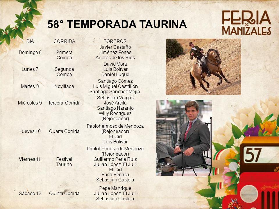 58° TEMPORADA TAURINA 2828 DÍA CORRIDA TOREROS Domingo 6
