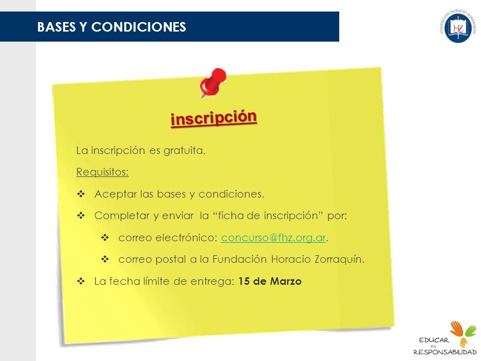 inscripción BASES Y CONDICIONES La inscripción es gratuita.