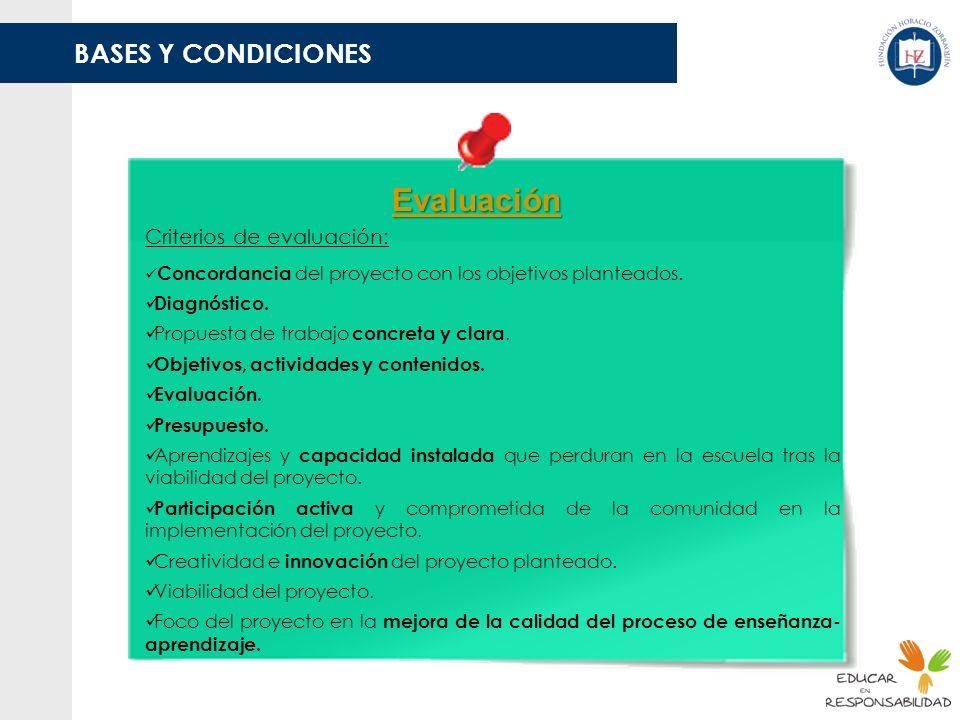 Evaluación BASES Y CONDICIONES Criterios de evaluación: Diagnóstico.