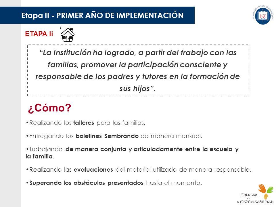 ¿Cómo Etapa II - PRIMER AÑO DE IMPLEMENTACIÓN