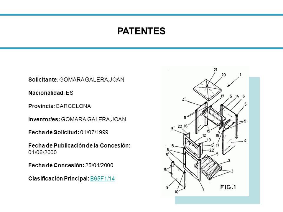PATENTES Solicitante: GOMARA GALERA,JOAN Nacionalidad: ES Provincia: BARCELONA Inventor/es: GOMARA GALERA,JOAN.