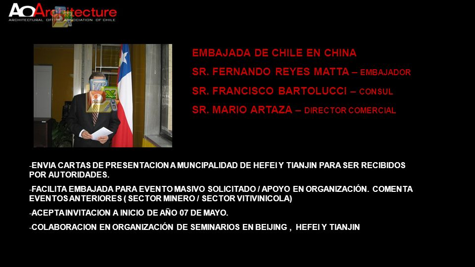 EMBAJADA DE CHILE EN CHINA SR. FERNANDO REYES MATTA – EMBAJADOR