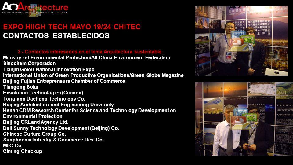 EXPO HIIGH TECH MAYO 19/24 CHITEC CONTACTOS ESTABLECIDOS
