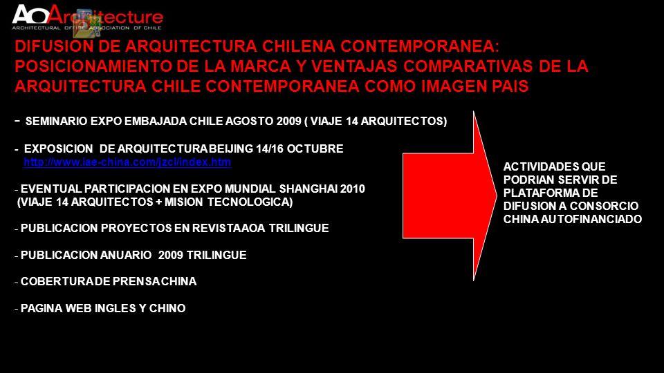 DIFUSION DE ARQUITECTURA CHILENA CONTEMPORANEA:
