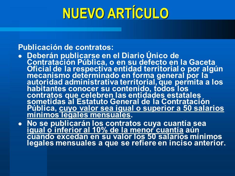 NUEVO ARTÍCULO Publicación de contratos: