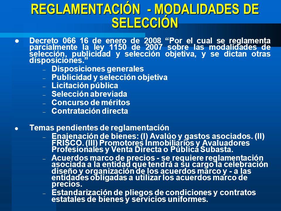 REGLAMENTACIÓN - MODALIDADES DE SELECCIÓN