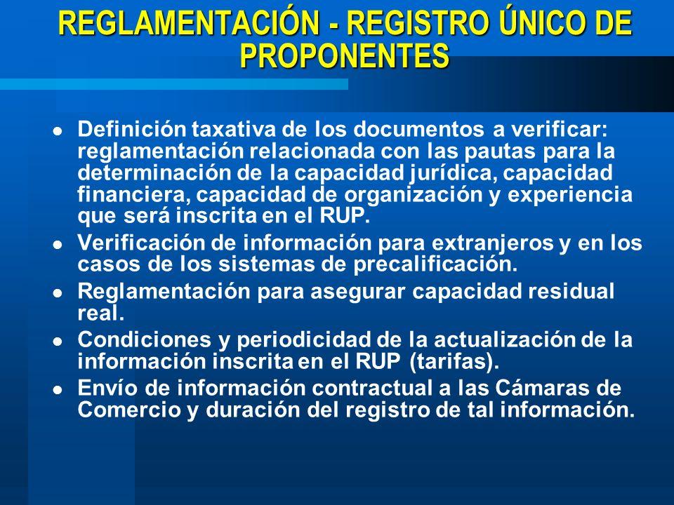 REGLAMENTACIÓN - REGISTRO ÚNICO DE PROPONENTES