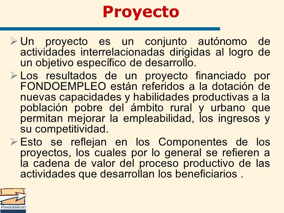 Proyecto Un proyecto es un conjunto autónomo de actividades interrelacionadas dirigidas al logro de un objetivo específico de desarrollo.