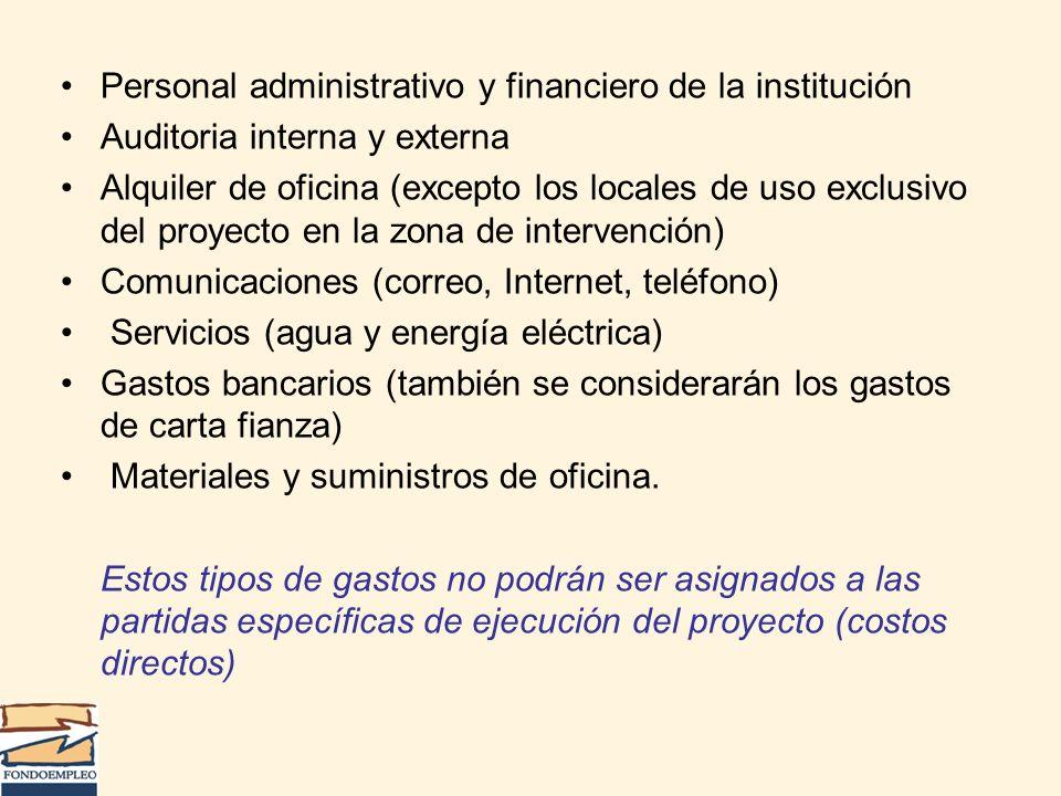 Personal administrativo y financiero de la institución