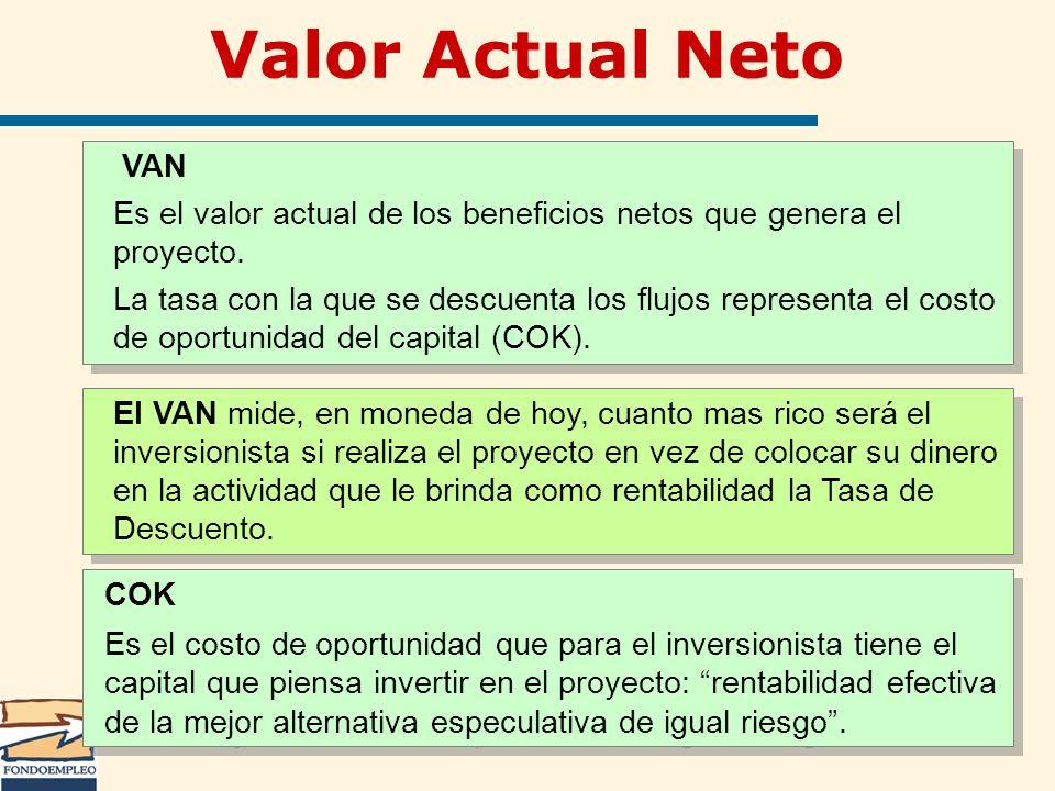 Valor Actual Neto VAN. Es el valor actual de los beneficios netos que genera el proyecto.