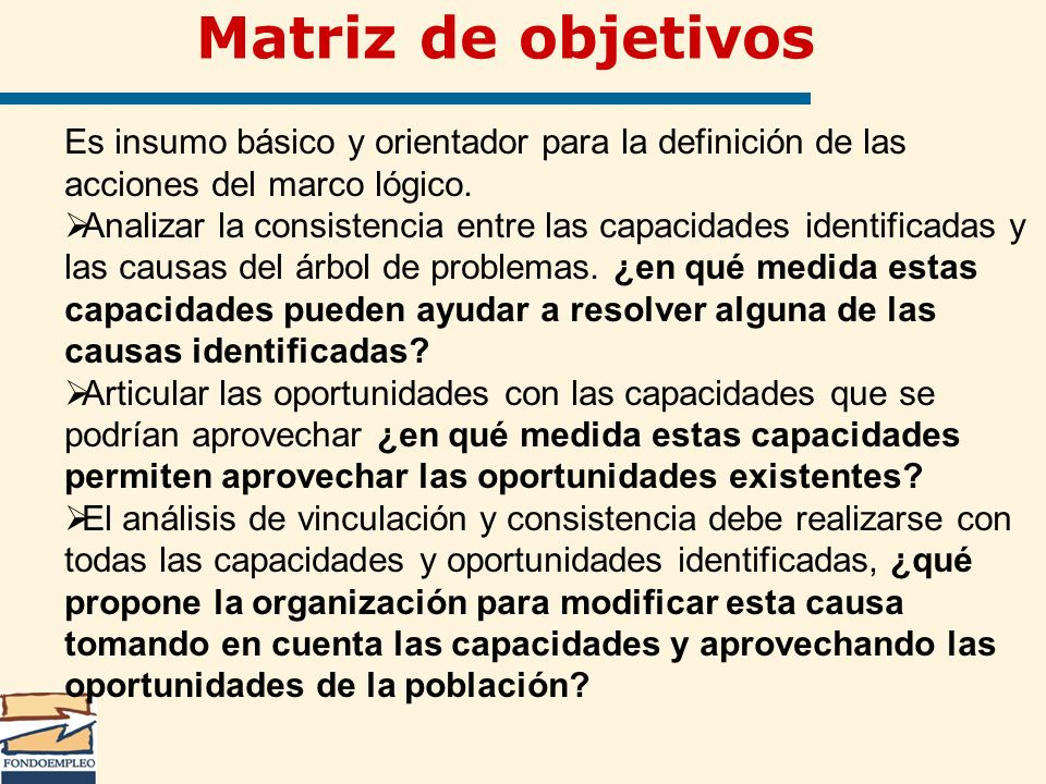 Matriz de objetivos Es insumo básico y orientador para la definición de las acciones del marco lógico.