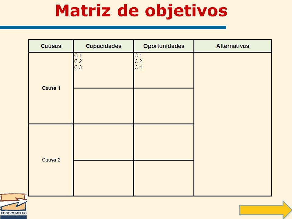 Matriz de objetivos