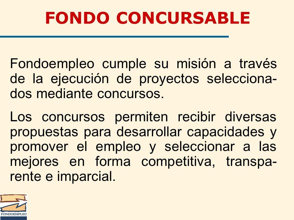 FONDO CONCURSABLE Fondoempleo cumple su misión a través de la ejecución de proyectos selecciona-dos mediante concursos.