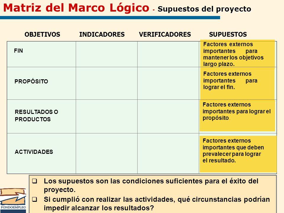 Matriz del Marco Lógico - Supuestos del proyecto