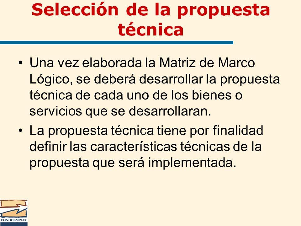 Selección de la propuesta técnica