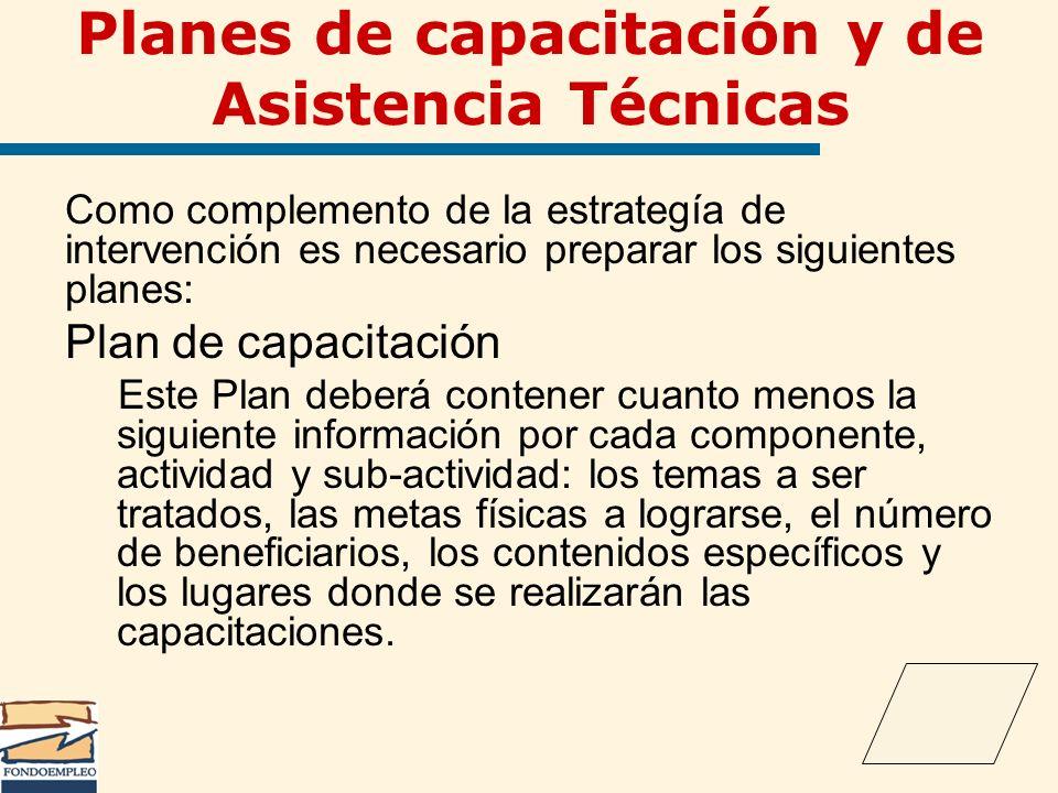 Planes de capacitación y de Asistencia Técnicas