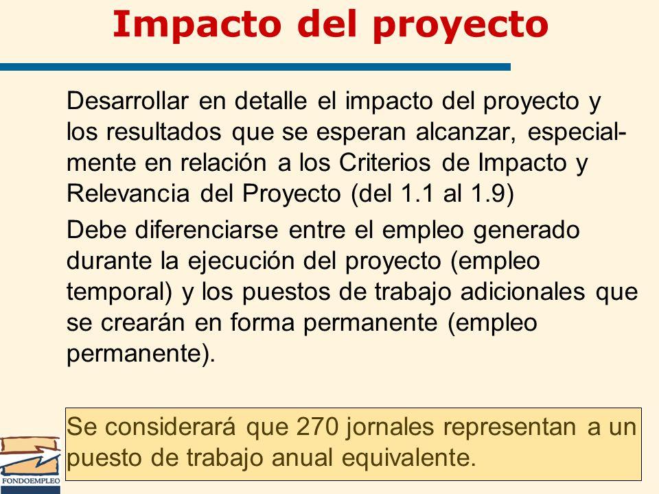 Impacto del proyecto