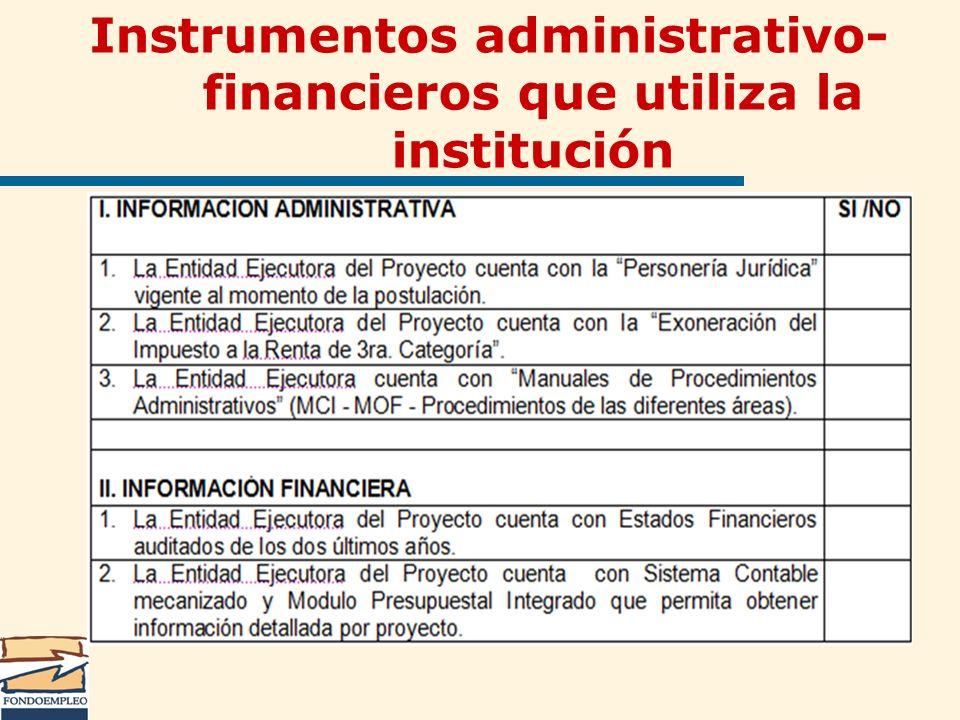 Instrumentos administrativo-financieros que utiliza la institución
