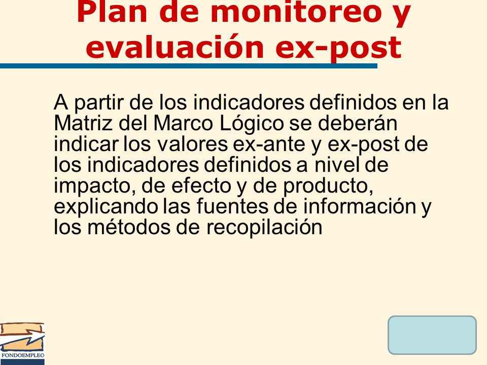 Plan de monitoreo y evaluación ex-post