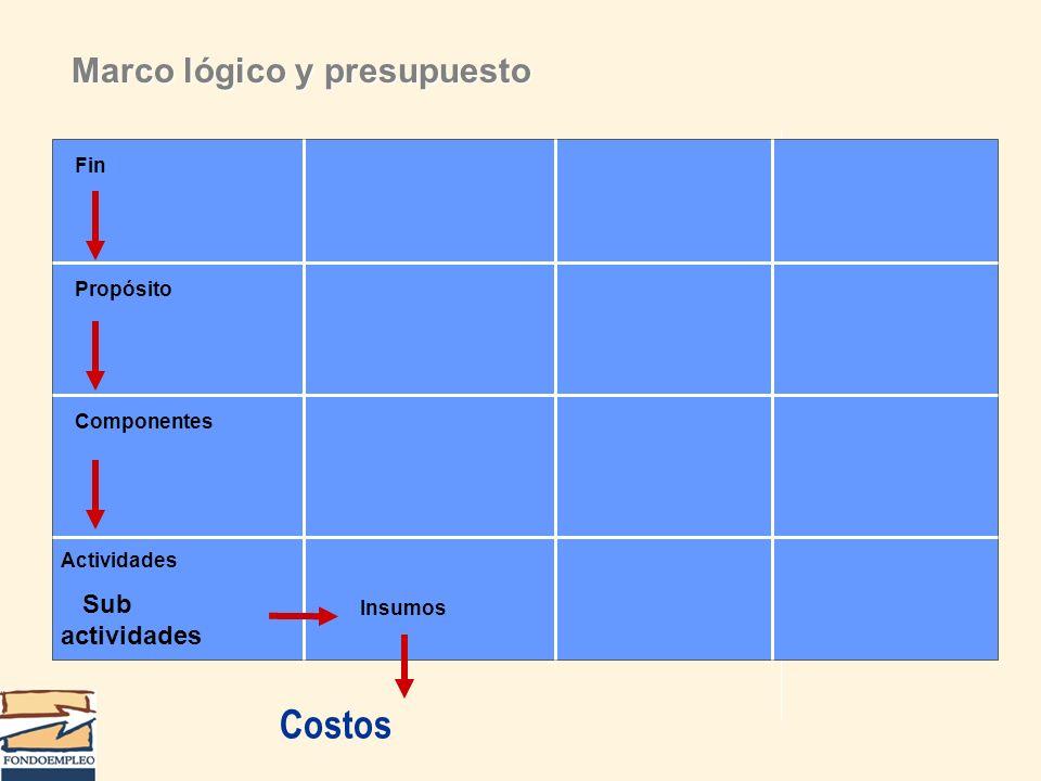 Costos Marco lógico y presupuesto Sub actividades Fin Propósito