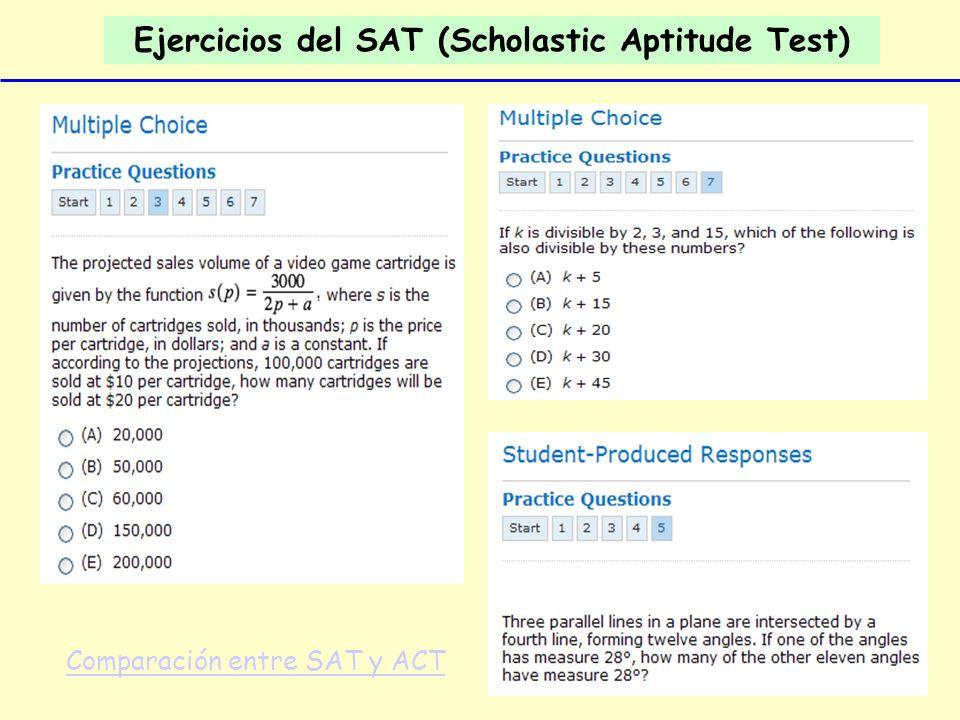 Ejercicios del SAT (Scholastic Aptitude Test)