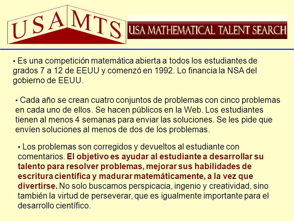 Es una competición matemática abierta a todos los estudiantes de grados 7 a 12 de EEUU y comenzó en 1992. Lo financia la NSA del gobierno de EEUU.