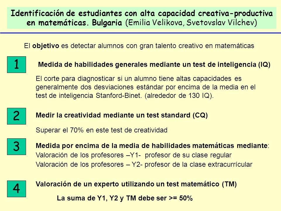 Identificación de estudiantes con alta capacidad creativa-productiva en matemáticas. Bulgaria (Emilia Velikova, Svetovslav Vilchev)