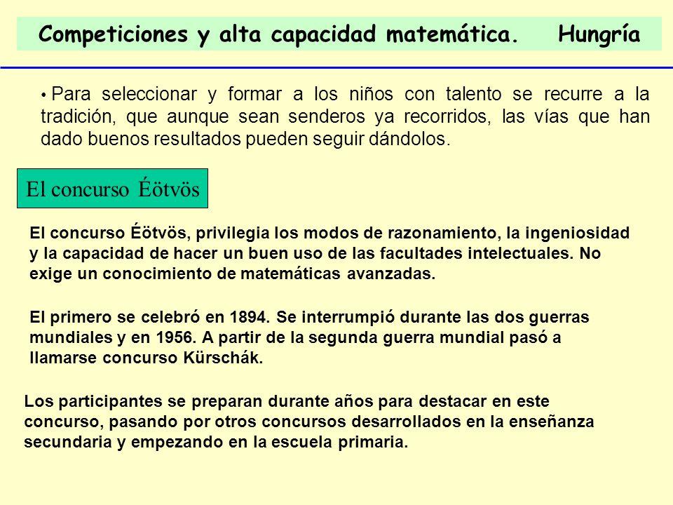 Competiciones y alta capacidad matemática. Hungría