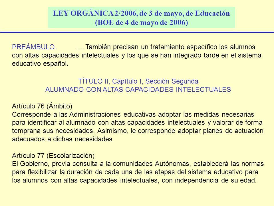 LEY ORGÁNICA 2/2006, de 3 de mayo, de Educación (BOE de 4 de mayo de 2006)