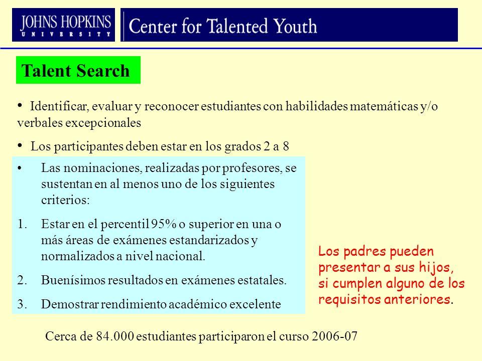 Talent Search Identificar, evaluar y reconocer estudiantes con habilidades matemáticas y/o verbales excepcionales.
