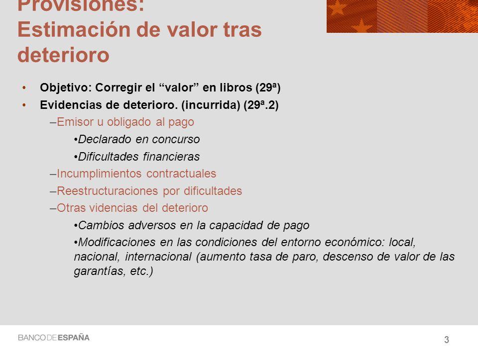 Provisiones: Estimación de valor tras deterioro