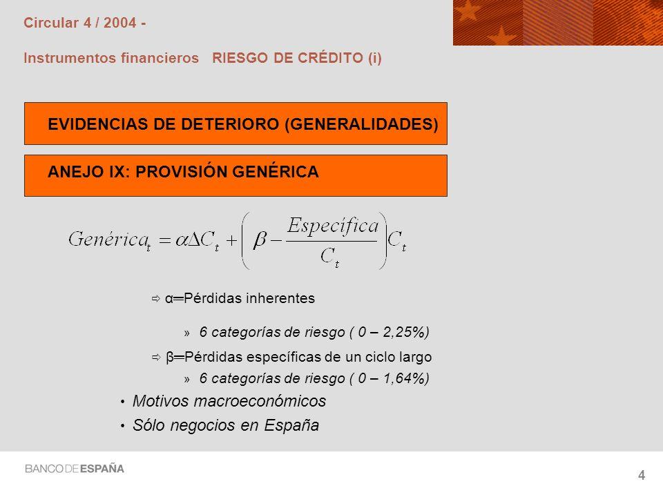 Circular 4 / 2004 - Instrumentos financieros RIESGO DE CRÉDITO (i)