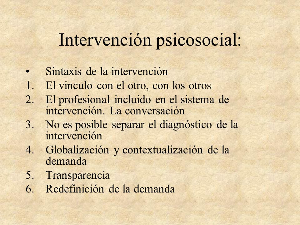 Intervención psicosocial: