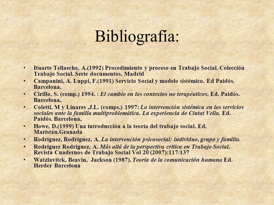 Bibliografía: Ituarte Tellaeche, A.(1992) Procedimiento y proceso en Trabajo Social. Colección Trabajo Social. Serie documentos. Madrid.