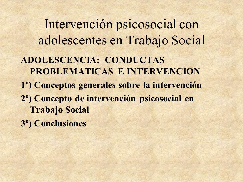 Intervención psicosocial con adolescentes en Trabajo Social