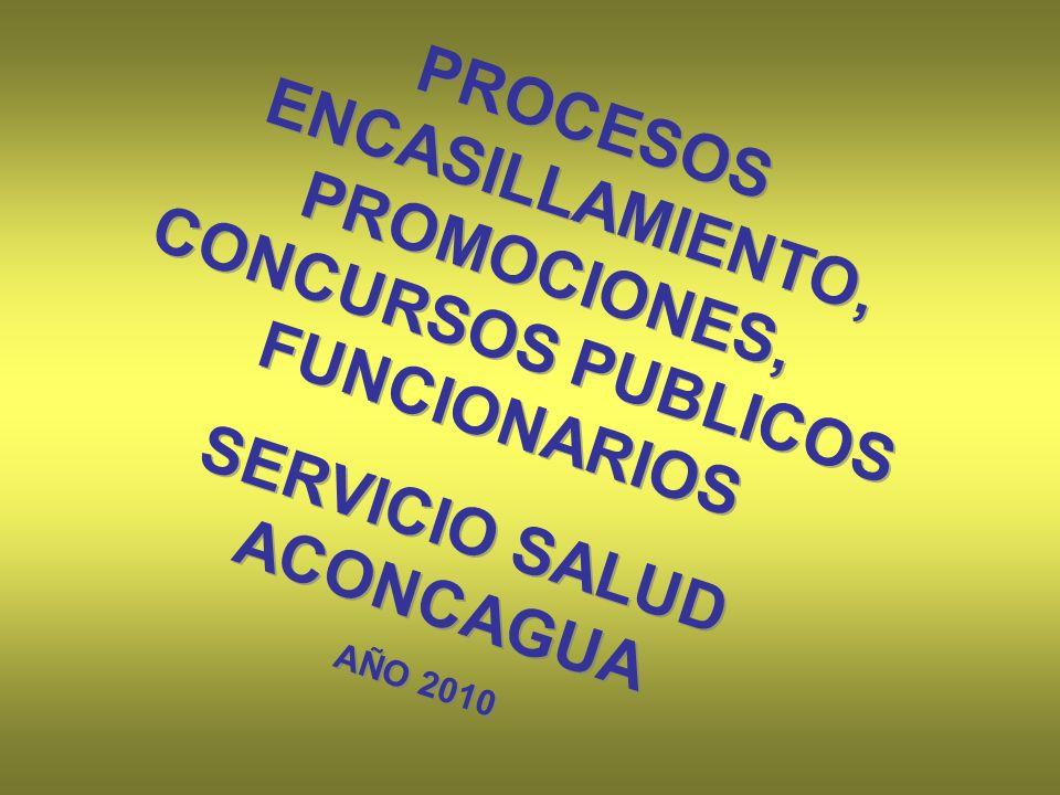 PROCESOS ENCASILLAMIENTO, PROMOCIONES, CONCURSOS PUBLICOS FUNCIONARIOS