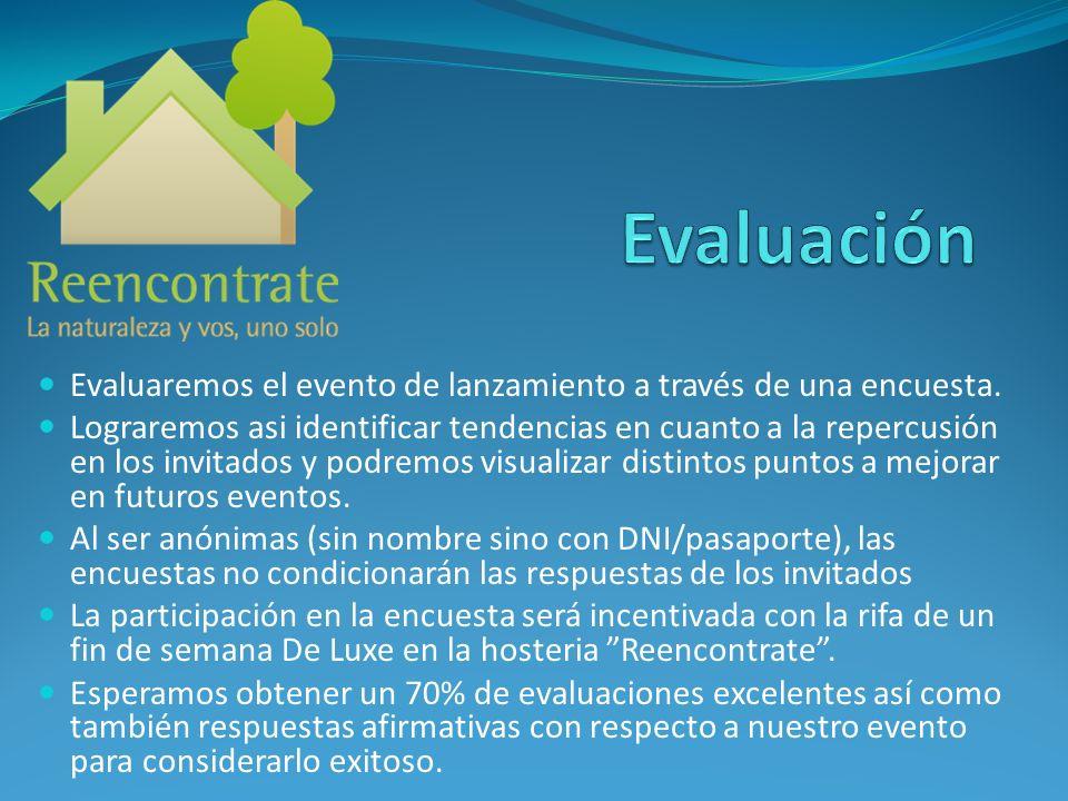 Evaluación Evaluaremos el evento de lanzamiento a través de una encuesta.