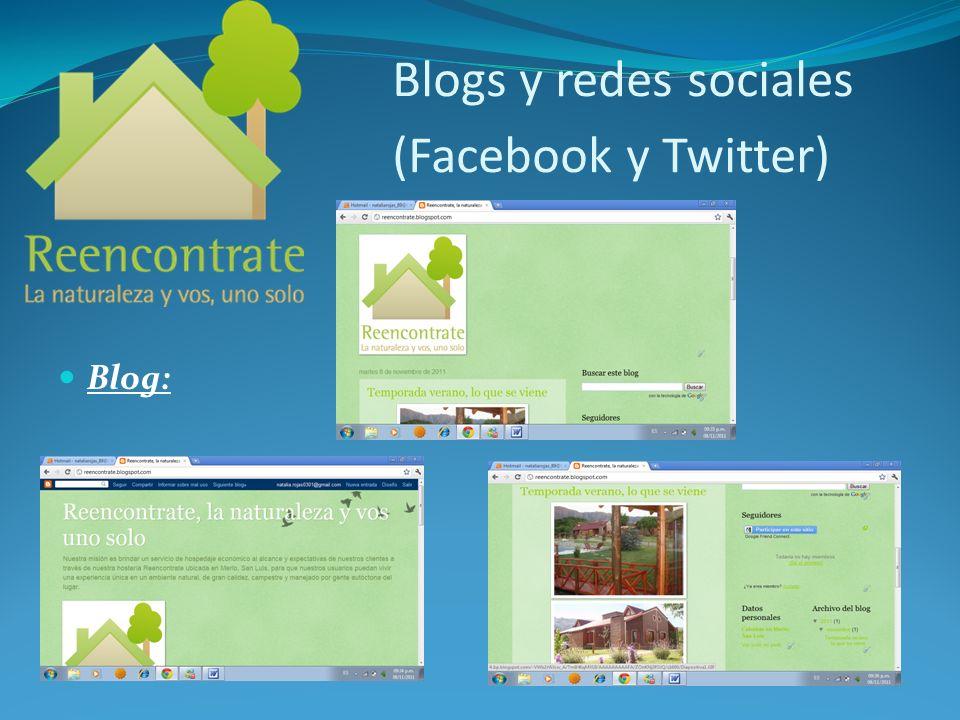 Blogs y redes sociales (Facebook y Twitter)