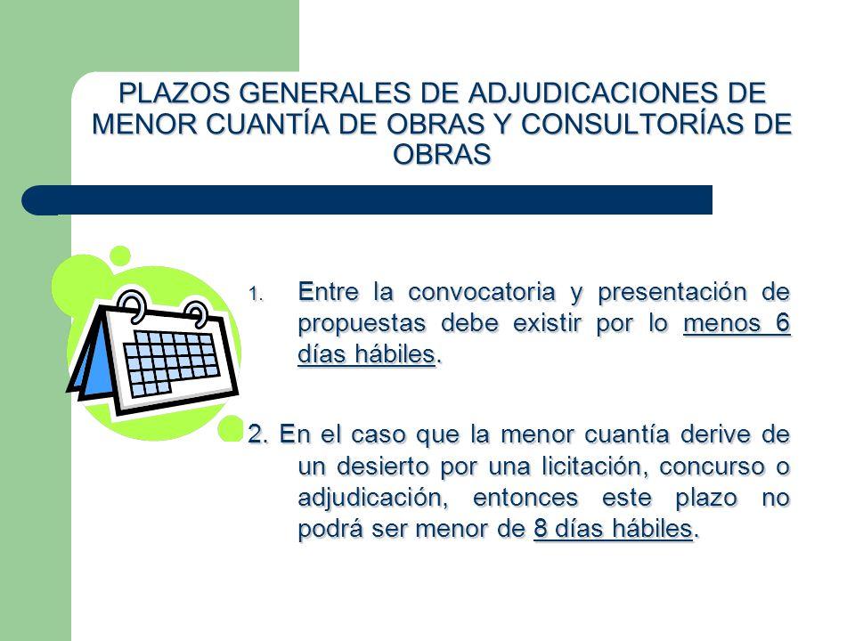PLAZOS GENERALES DE ADJUDICACIONES DE MENOR CUANTÍA DE OBRAS Y CONSULTORÍAS DE OBRAS
