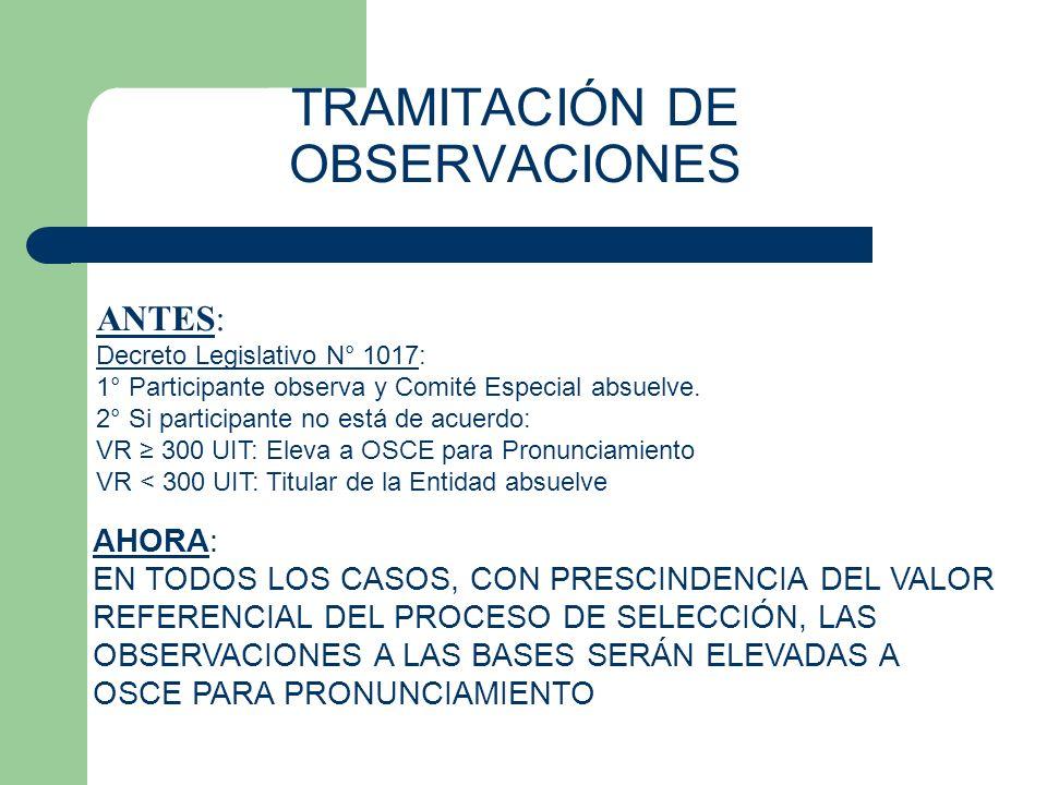 TRAMITACIÓN DE OBSERVACIONES