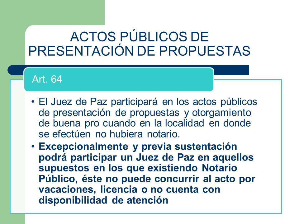 ACTOS PÚBLICOS DE PRESENTACIÓN DE PROPUESTAS