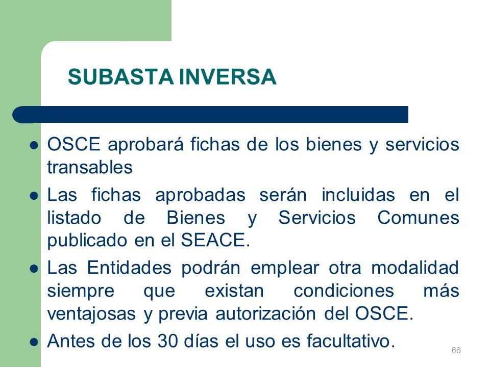 SUBASTA INVERSA OSCE aprobará fichas de los bienes y servicios transables.