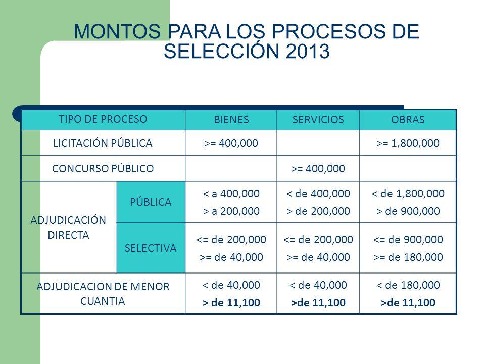 MONTOS PARA LOS PROCESOS DE SELECCIÓN 2013